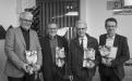 Styrkþegarnir fjórir, Kristján Jóhann Jónsson, Höskuldur Þráinsson, Jón G. Friðjónsson og Eiríkur Rögnvaldsson við úthlutun styrkjanna í Norræna húsinu 6. maí.